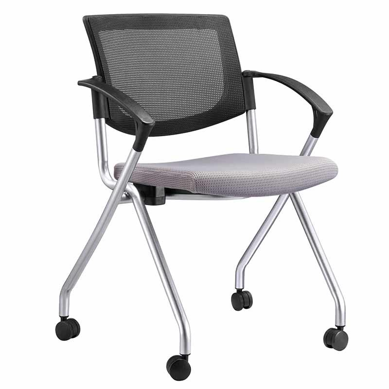 Office Star Breathable Flexible Mesh Back Folding Nesting Learniture Chair with Padded Fabric Seat and tablet