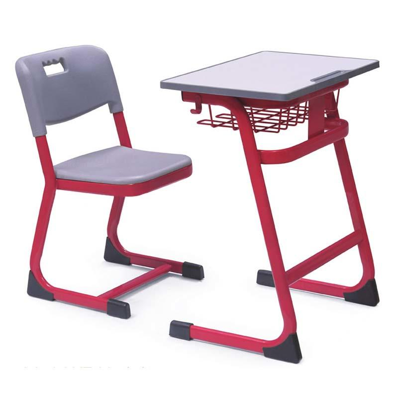 High quality Single Set Desk and Chair with Colorful Steel Pedestal Frame