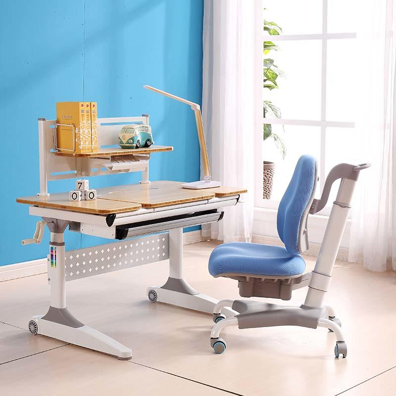 Wooden top height adjustable bamboo study desk with storage
