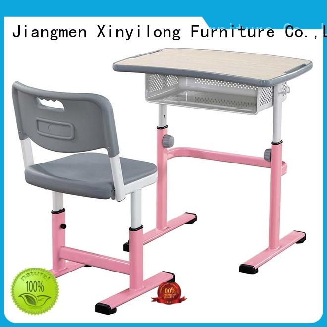 Height Adjustable Open Front Student Desk and Chair with Metal Book Box